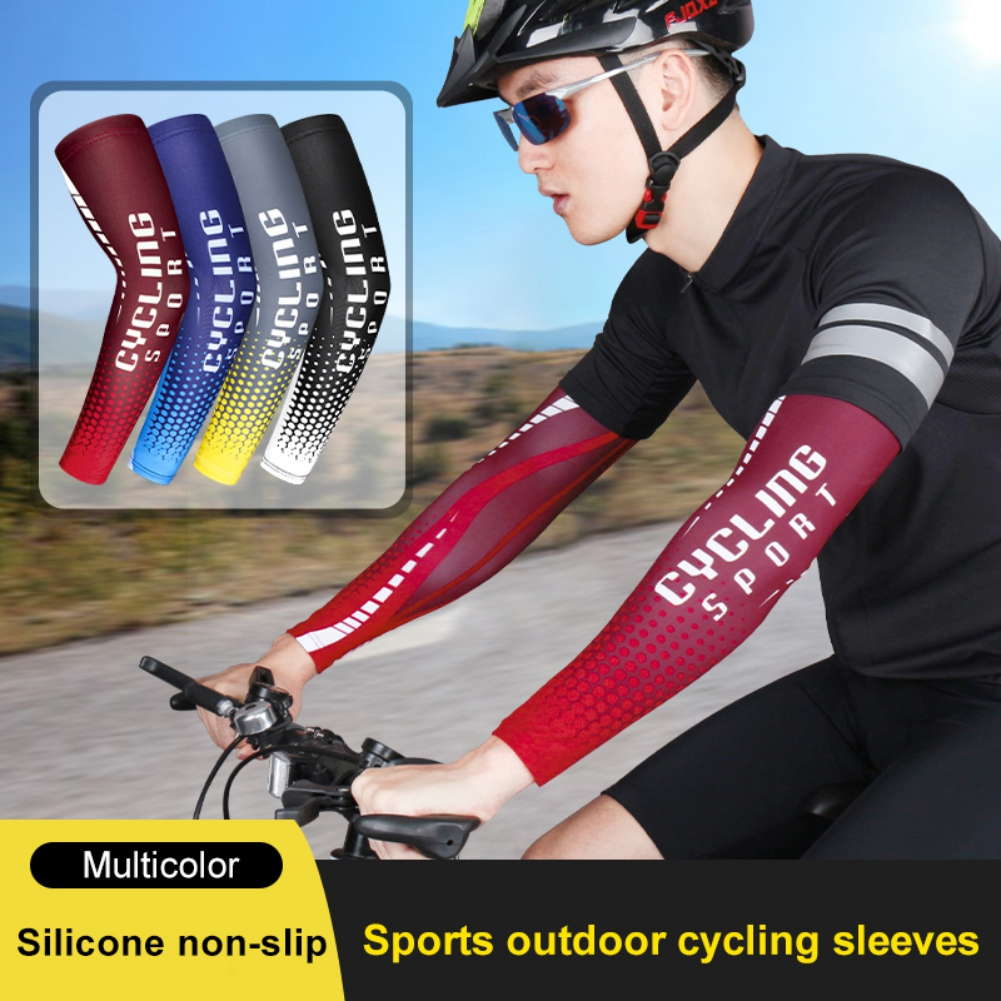 1 Pair Cycling Arm Sleeves Sports Basketball Running Arm Warmer Summer Ice Silk Cooling Arm Cover Breathable Sun Protection
