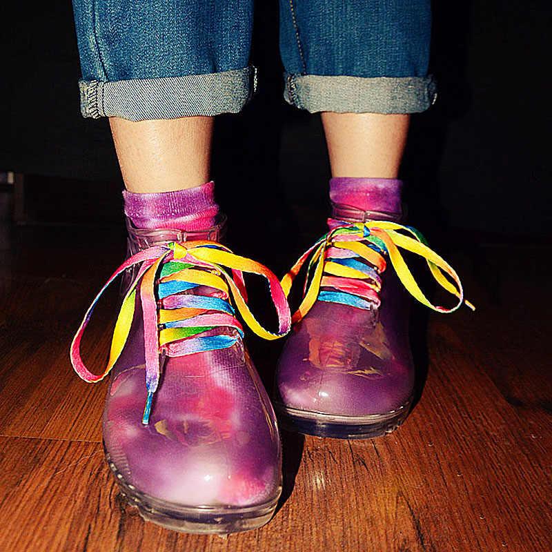 1 paar Bunte Schnürsenkel regenbogen Gradienten Druck Leinwand Schuhe Casual Chromatische Farbe Schnürsenkel schuh gurte für lose shoes80-60CM