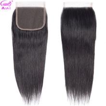 Ариэль перуанские волосы закрытие прямые 4*4 Кружева Закрытие человеческих волос натуральный цвет не завитые здоровые волосы 1 шт./лот