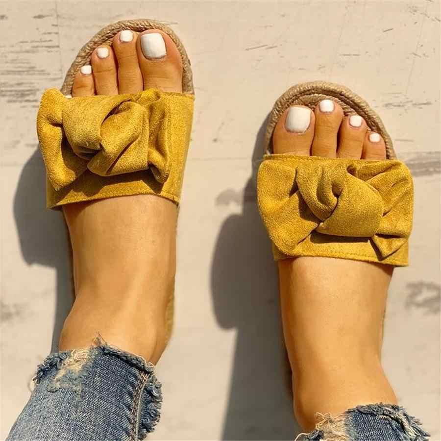 Nuevas sandalias de verano con lazo, Chanclas de playa de verano para mujer, chanclas de lino para interiores y exteriores, zapatos florales de moda femenina