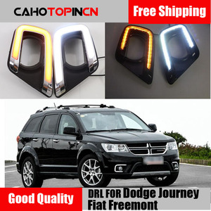 LED Daytime Running Light For Dodge Journey Fiat Freemont 2014 2015 2016 Yellow Turn Signal style Relay DRL Fog Lamp Decoration(China)