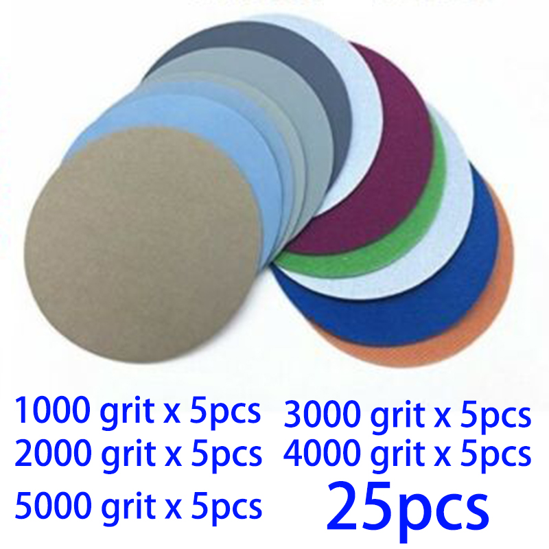 25pcs Hook And Loop 3 Inch Grit 1000 2000 3000 4000 5000 Sanding Paper Waterproof Sanding Wet / Dry Discs
