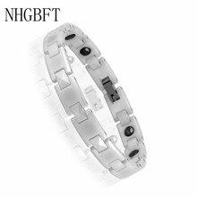 NHGBFT 18CM length White ceramic bracelet for women Hematite healthy magnetic energy bracelet