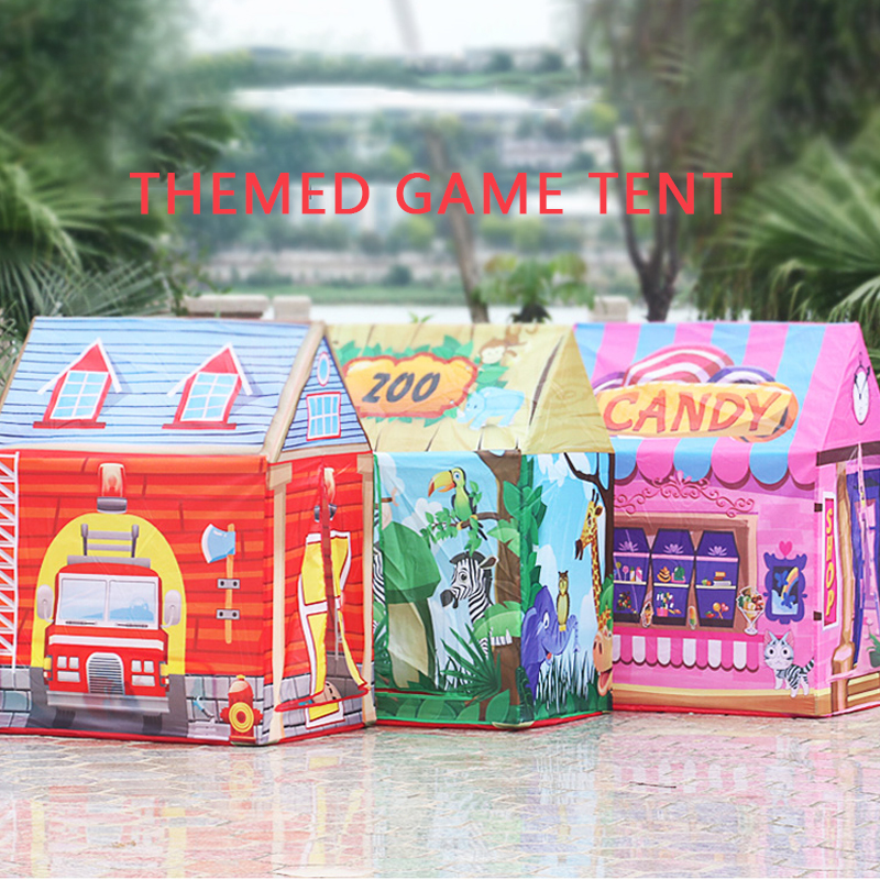 Children DIY Tent  Fire Truck Christmas House Ocean Ball Pool  With Storage Bag Foldable Outdoor Indoor Play House Girl Toy Gift