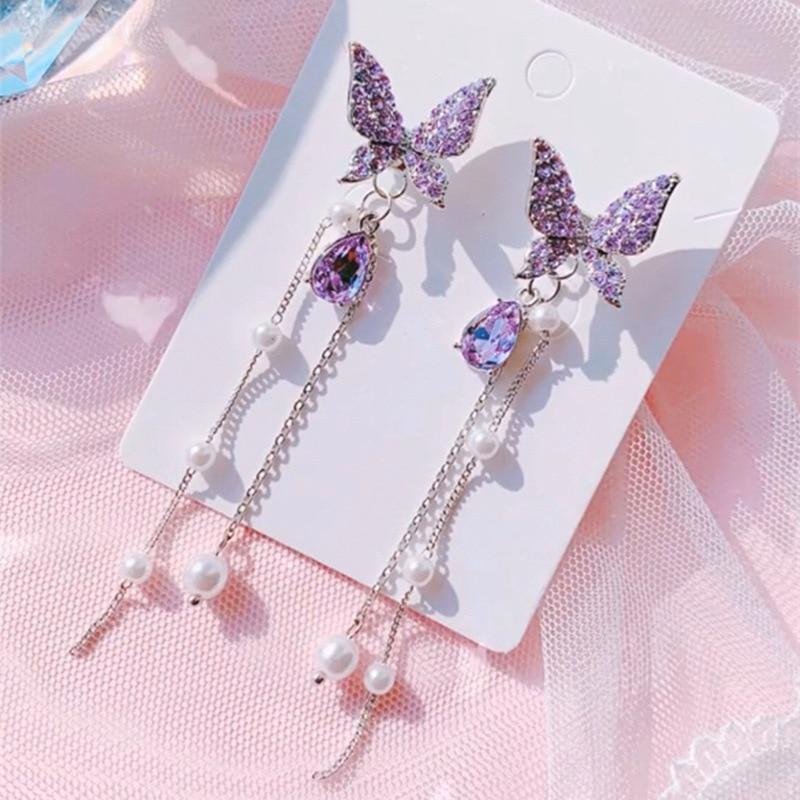 2020 nova chegada coreano do vintage roxo cristal borboleta longo borla feminino balançar brincos moda festa jóias presentes