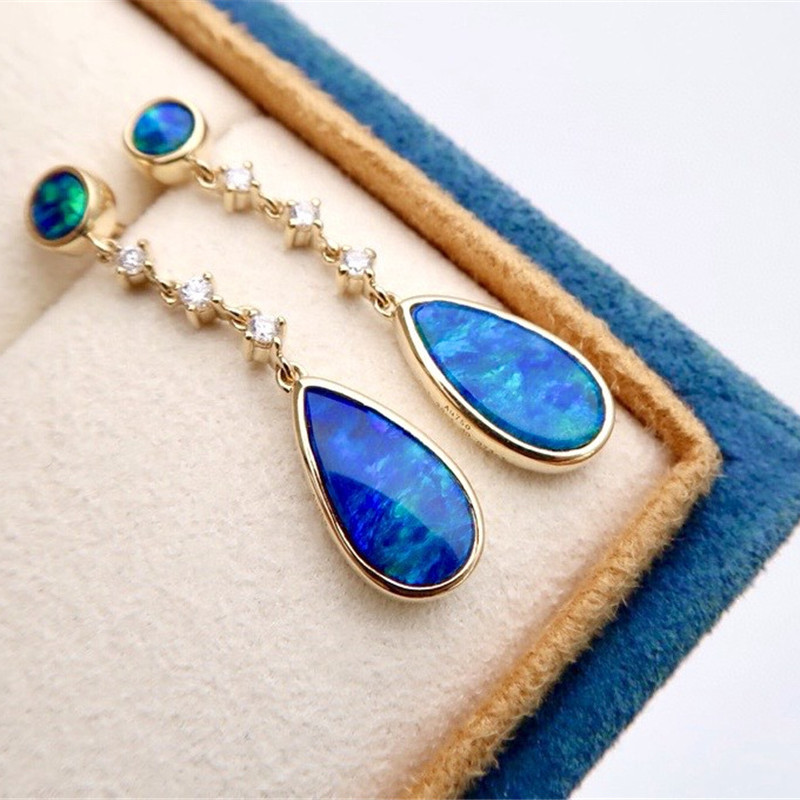 18K Solid Yellow Real Gold Jewelry (AU750) Women Double Opal Featured Blue...