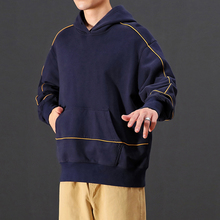 YUECHEN Autumn Mens New Four-color Hooded Pullover Loose Shoulder Casual Hoodies Pocket Decorative Cotton Polyester