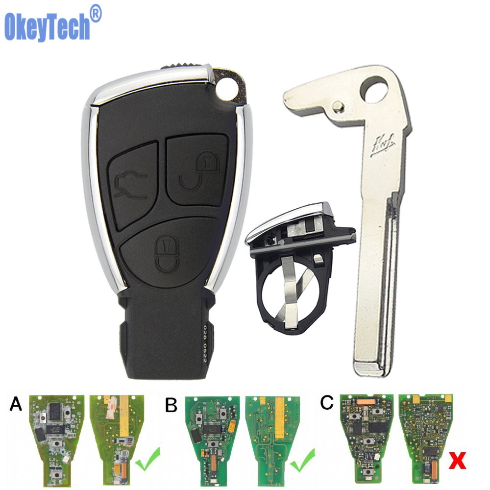 OkeyTech for Mercedes Benz CLS CE W203 W204 Fortwo Smart <font><b>Key</b></font> Card Modified <font><b>Remote</b></font> Car <font><b>Key</b></font> Case Fob Insert Blank Blade 3 Button image