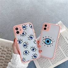 Turkish lucky Blue Evil Eye Abstract Phone Case Matte Transparent for iPhone 7 8 11 12 s mini pro X XS XR MAX Plus cover funda