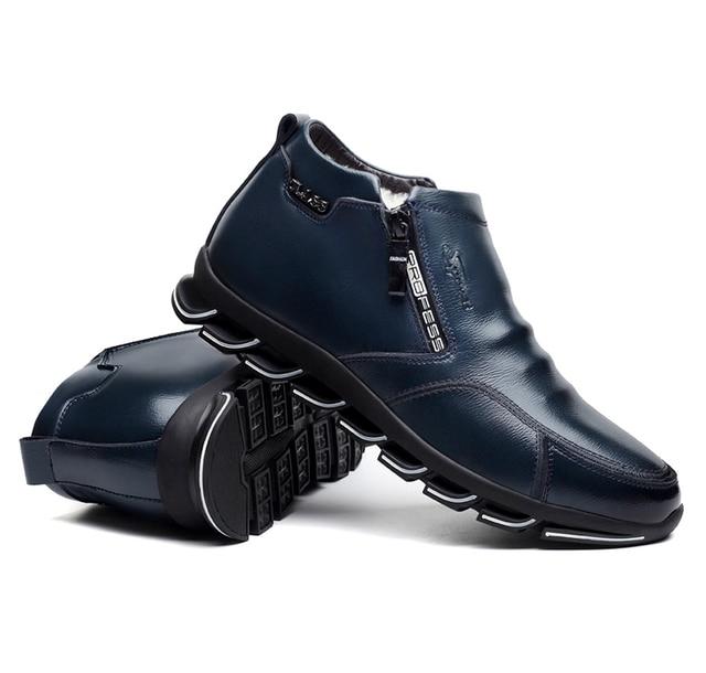 العلامة التجارية الجديدة للرجال الشتاء أحذية جلدية أحذية الصوف والقطن الرجال الفراء الترفيه أحذية عالية أعلى زائد المخملية الدافئة أحذية رجالية 5