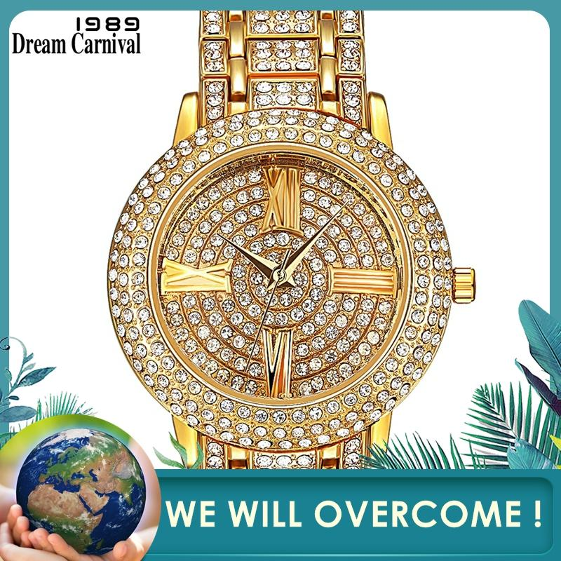 Dreamcarnival 1989 Hot Selling Full Crystals Watches For Women Luxury Design Round Alloy Case Stones Dial Party Must Have 15612