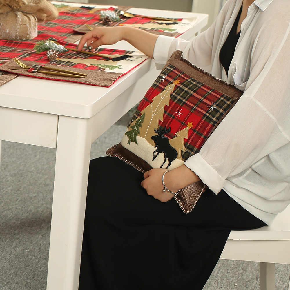 クリスマス枕ケースクッションカバー Handmad アップリケクリスマス Pilow カバー装飾的なスロー枕用 36 × 36 センチメートル