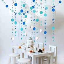 4 м зеркальный бумажный звездный круглый венок, флэш-баннер с днем рождения, украшение для взрослых мальчиков и девочек, занавеска для душа, ...