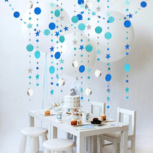 4m Mirror Paper Star Round Garland Flash Banner Happy Birthday Decoration Adult Boy Girl Baby Shower Curtain Decor  Wedding DIY