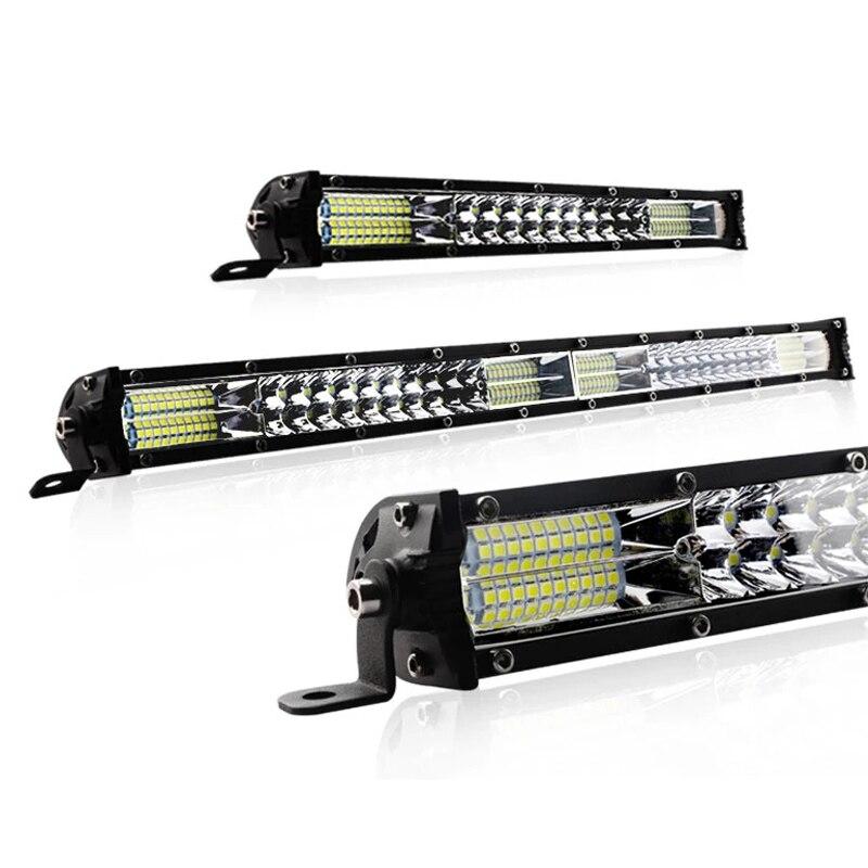 LED ultrafine barre lumineuse 10 pouces 20 pouces double rangée barre de led Combo faisceau lampe de travail feux de route pour Auto Jeep hors route 4x4 12V 24V