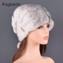 Женские шапки из натурального меха норки, роскошная Модная брендовая Высококачественная шапка, Новое поступление, сохраняющая тепло для ру...