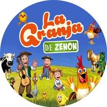 รอบฉากหลังสัตว์ฟาร์มวัวเด็กวันเกิดเค้กตารางแบนเนอร์ Photocall พจนานุกรม GRANJA De ZENON พื้นหลังสำหรับ Photo Studio