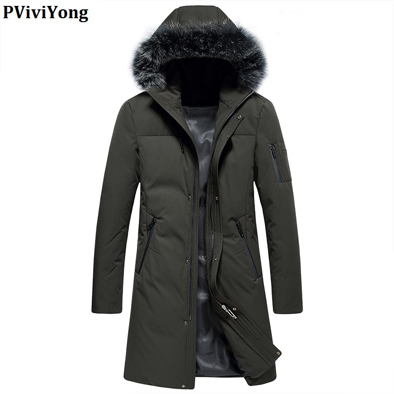 PViviYong 2019 Winter high quality 90% white duck   down   jacket hooded fur collar zipper casual long parka men   coat   YR9602