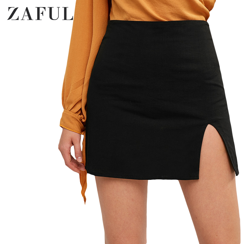 ZAFUL New Summer Slit Mini A Line Skirt Zipper Fly High Waist Women Skirt Elegant Short Sexy Slim Skirt