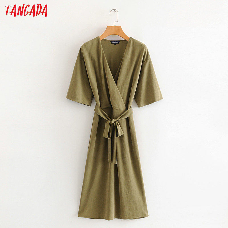 Tangada Women Solid Amy Green Long Jumpsuit Short Sleeve V Neck Bow Tie Female Casual Jumpsuit HY35