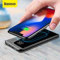 Baseus 8000 mah qi carregador sem fio power bank dupla usb bateria de carregamento sem fio powerbank portátil carregador de telefone externo