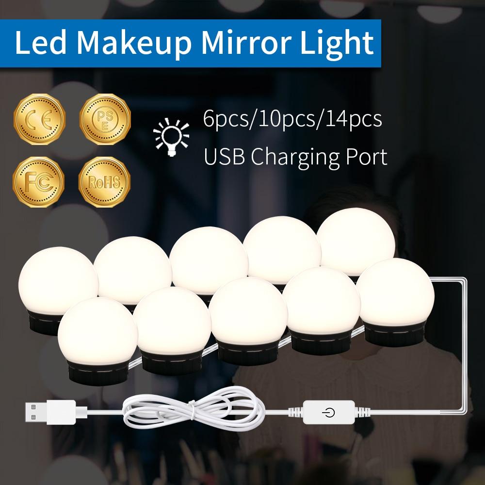 Makeup Vanity Mirror Light Bulb 220V Led USB Cable 5V Dimmable Dressing Table Lamp EU US Plug Bathro