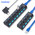 USB Hub 3.0 Hub USB 3 USB 2.0 Multi USB Splitter Power Adapter 4/7 Port Multiple Expander 2.0 with Switch for PC Accessories