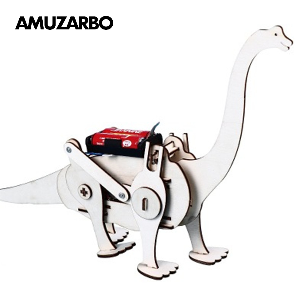 Novel Wooden Assembled Dinosaur Electric Crawling Brachiosaurus DIY Handmade Educational Toys For Children Science Teaching Aids