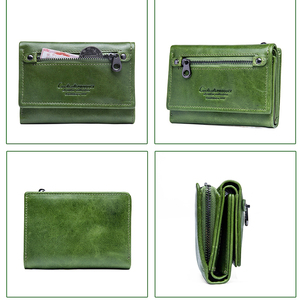 Image 4 - Contacts Women Wallet Clip Genuine Leather Ladies Clutch Wallets Anti Rfid Luxury Money Bag Green Coin Purse Cartera Mujer