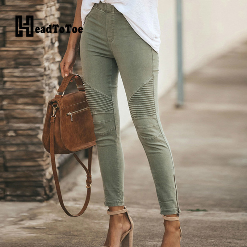 Elastic High Waist Skinny Pencil Pants Women Solid Casual Pleated Pants