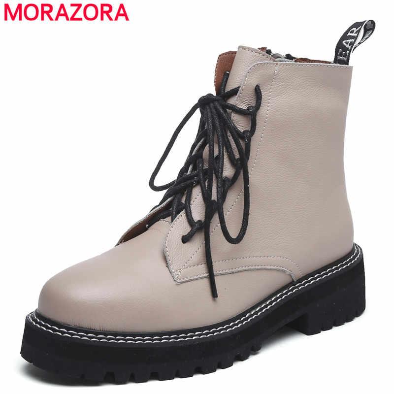 MORAZORA 2021 hakiki deri çizmeler kadın ayakkabıları kalın taban dantel up sonbahar kış kısa yarım çizmeler kadınlar için motosiklet botları