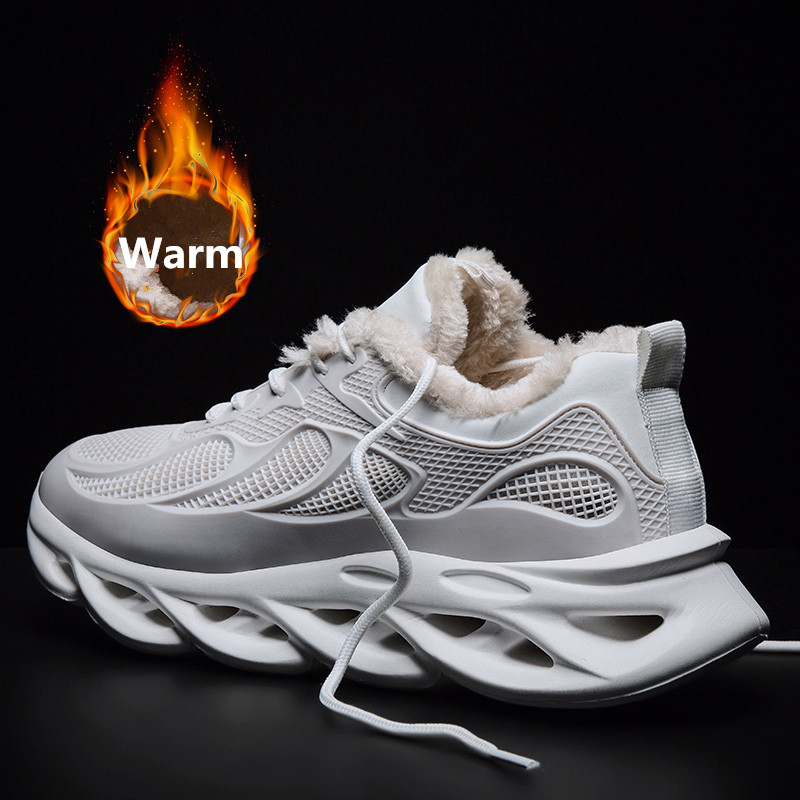 2019 New Winter Running Shoes With Fur Warm Sneakers For Men Blade Cushioning Sport Shoes Light Comfortable Black White Sneakers