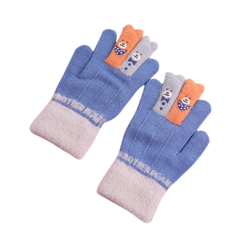Зимние теплые детские перчатки с открытыми пальцами, детские вязаные перчатки с рисунком лося для мальчиков и девочек, перчатки с откидной крышкой, митенки Детские От 4 до 8 лет - Цвет: 2