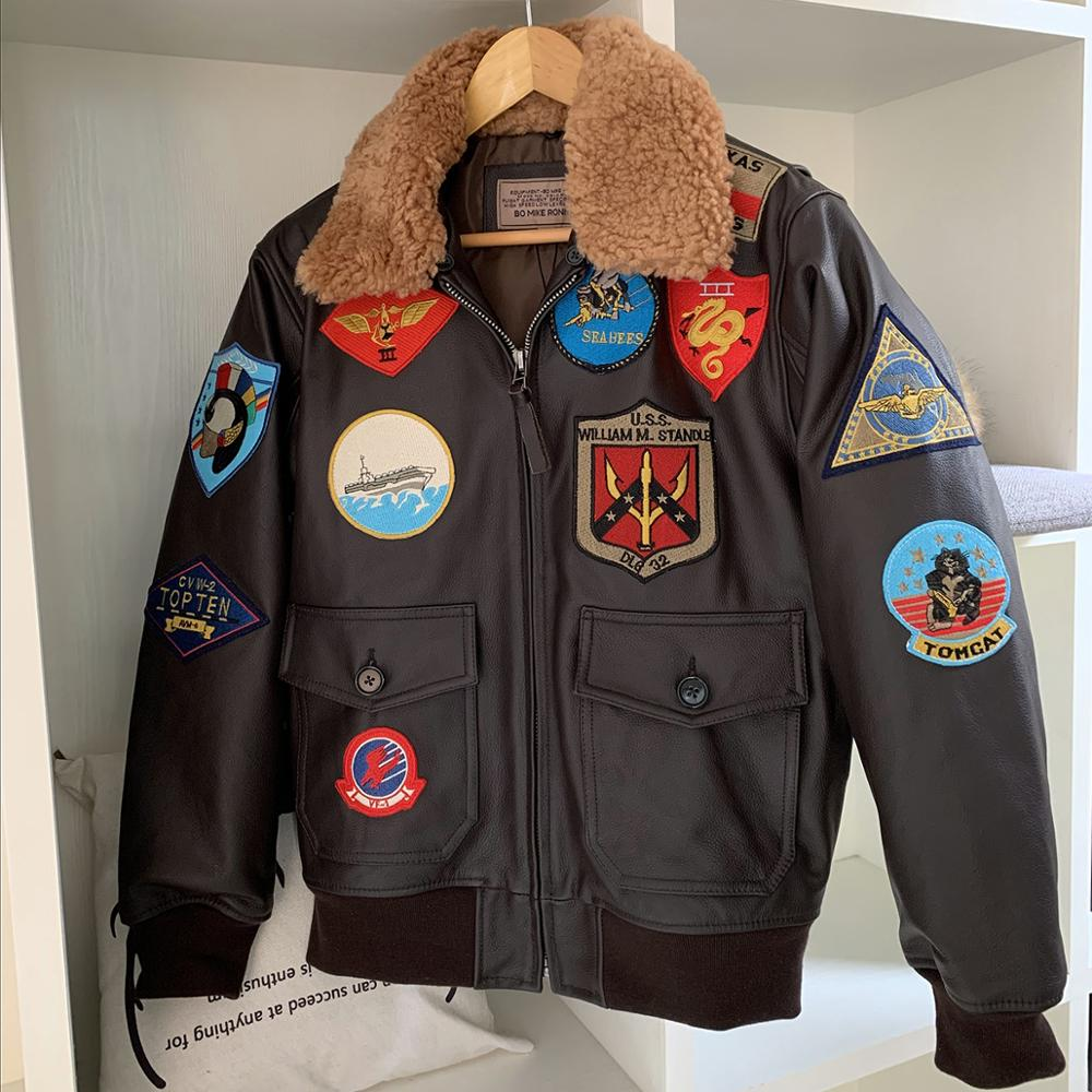 Man A2 Pilot Jacket Tom Cruise Top Gun Leather Jacket Air Force Cow Coats 100% Real Brown Thick Cowhide Winter Motorcycle Jacket
