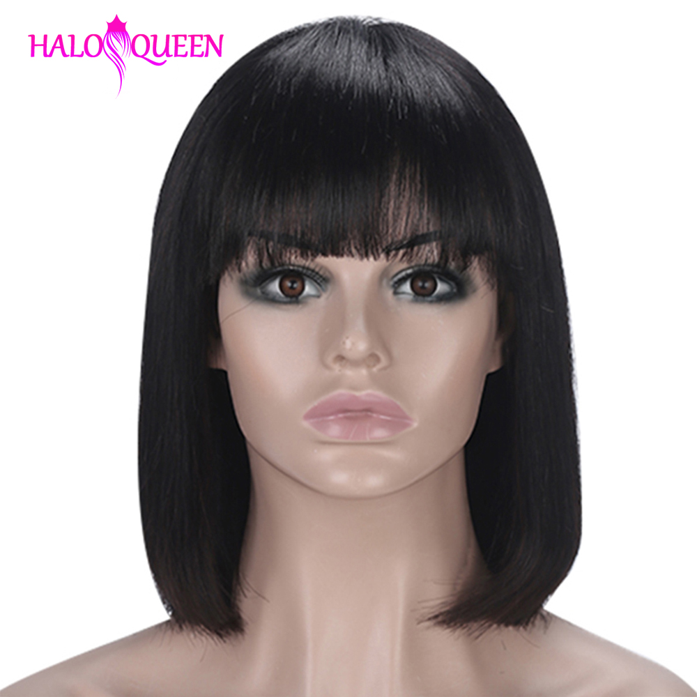 Straight Bob Wig Peruvian Hair Remy Hair Mid-Length Wig Human Hair Wigs For Women Natural Color Full Machine Made Wigs With Bang