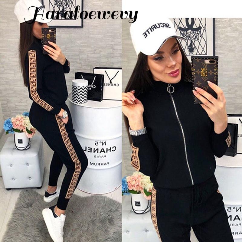 2019 Spring Women Sport Suits Fashion Printed Running Sets Sweat Pants Female Jogging Suit Tracksuit Hooded Sweatshirt