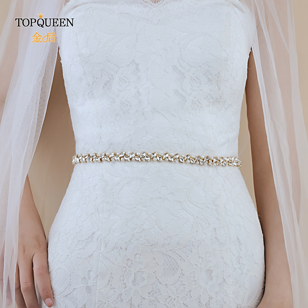 TOPQUEEN Wedding Dress Belt Gold Rhinestone Belt  Gold Bridal Belt Gold Beads Bridal Belt For Wedding Dress Thin Belts  S383-G