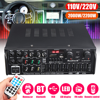 2000W 5.0 bluetooth 2.0 Channel Audio Power HiFi Amplifier 326BT DC 12V/220V AV Amp Speaker with Remote Control for Car Home