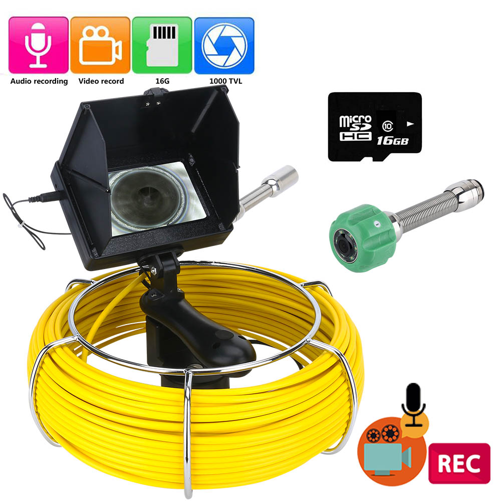 4.3 Inch Monitor Sewer Pipe Inspection Video Camera, 16GB TF Card DVR IP68 Drain Sewer Pipeline Industrial Endoscope40M 30M