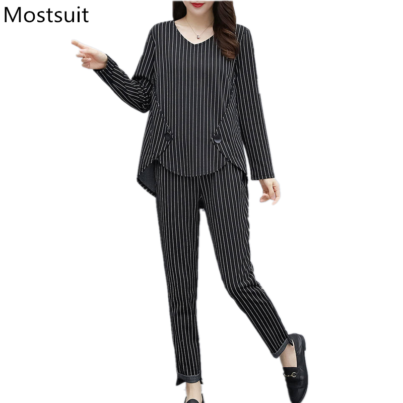 L-5xl Plus Size Striped Two Piece Sets Outfits Women Long Sleeve Tops And Pants Suits Casual Office Elegant Korean Matching Sets 29