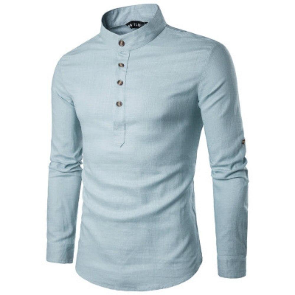 ZOGAA Men Business Dress Shirt Long Sleeve Undershirt Slim Pure Color White Shirt 2019 New Fashions Stand Collar Mens Shirts