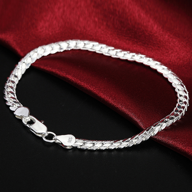 2 Piece 6MM Full Sideways 925 Sterling Silver Necklace Bracelet Fashion Jewelry For Women Men Link Chain Sets Wedding Gift 4