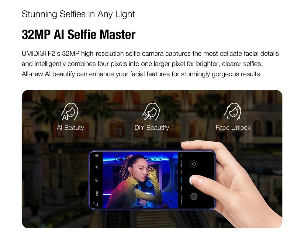 "Hf5ab9f422ca54230b42454962e4f1d0fk Pre-sale UMIDIGI F2 Android 10 Global Version 6.53""FHD+6GB 128GB 48MP AI Quad Camera 32MP Selfie Helio P70 Cellphone 5150mAh NFC"