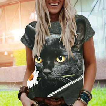 HOT SALES!!T-shirt 3D Cats Print Loose Women Short Sleeve O Neck Blouse Top for Summer