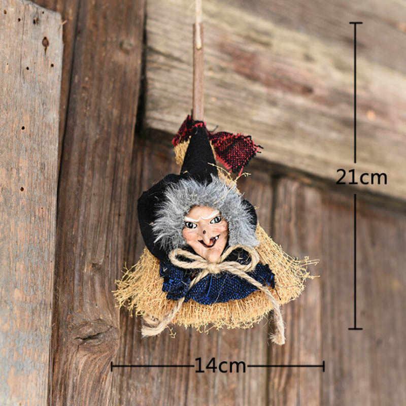 ハロウィン小道具怖いゴースト人形魔女ほうきおもちゃ小道具ハロウィンペンダントホラーおもちゃ文字列ライトパーティー装飾新