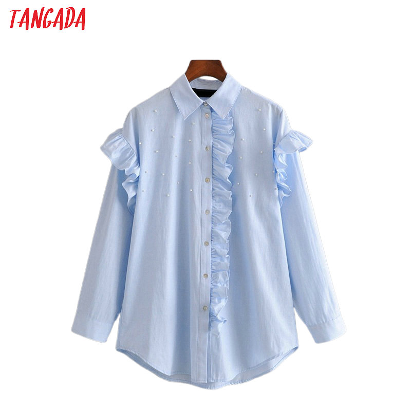 Tangada Women Blue Pearl Oversized Blouse Ruffles Long Sleeve Chic Female Casual Loose Shirt Blusas Femininas 3h371