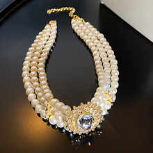 Retro Rhinestone Multi-row Pearl Necklace for Women Exaggerated Short Necklace Choker Necklace Female Crystal Pendant Necklace