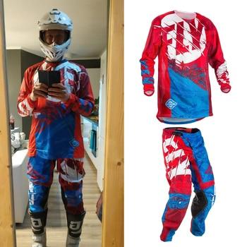 Jersey y pantalones con mosca de Motocross MX, traje de carreras Dirt Bike ATV, equipo de ciclismo Delgado, ropa de carreras, S-XXL, triangulación de envíos