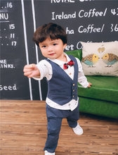 CYSINCOS Children Kids 1 2 3 4 5 Years Spring Autumn Wearing Outfit 3 Pieces Set Shirt Long Sleeve Pants Trousers Vest Suit(China)