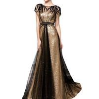 Gold Black Squin Long Evening Dress 2019 Gold Black Beads with Short Sleeves Formal Party Prom Gown robe de soiree